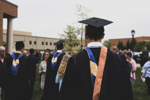 back of head of graduating